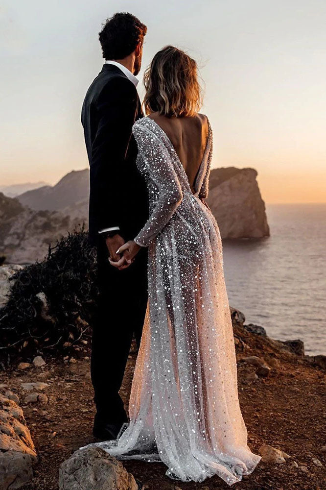 Sexy Illusion Boho A-Line Backless Bride Dresses Sequined Beading Mermaid Wedding Dress OKV67