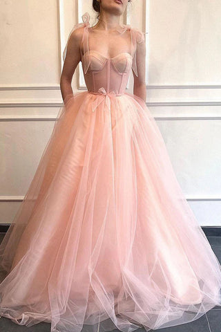 A-Line Fitted Boning Prom Dresses Spaghetti Strap Tulle Long Evening Gowns OKW77