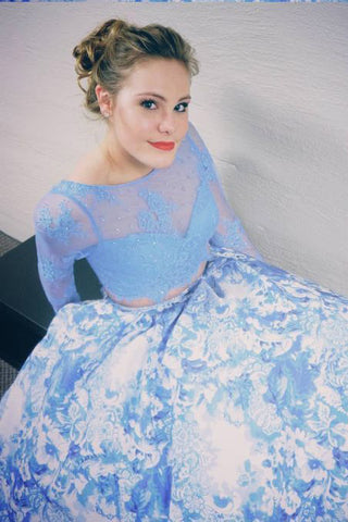 Two Piece Prom Dresses With Long Sleeves, White Blue Printed Prom Dresses OKH51