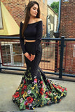 Two Piece Off the Shoulder Mermaid Long Sleeves Black Floral Printed Prom Dress