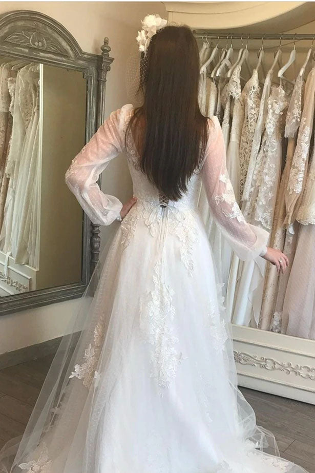A-Line V-Neck Lantern Sleeve Lace Appliques Wedding Lace Up Back Formal Bride Gown OKV35