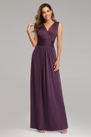Purple A Line V Neck Simple Chiffon Prom Dresses XU90803
