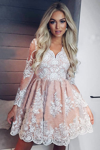 A-Line V-neck Long Sleeves Short Pink Homecoming Dress with Appliques OKM19