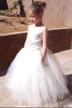 3377ac75970 A-Line Square Lace-Up Tulle Ball Gown Long Flower Girl Dress OKC50