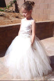 A-Line Square Lace-Up Tulle Ball Gown Long Flower Girl Dress OKC50