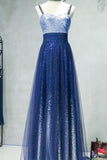 A-line Spaghetti Strap Sleeveless Royal Blue Tulle Sequins Modest Long Prom Dress OK616
