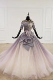 Sparkly Ball Gown Half Sleeves Ombre Quinceanera Dresses with Flowers OKS90