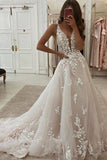 Lace Applique Ivory A-Line V-Neck Wedding Dress Cheap Bridal Dresses OKU81