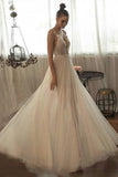 Beaded Tulle Skirt Spaghetti Straps Long Wedding Gown Beach A line Illusion Women Bridal Dress OKW50
