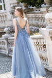 A Line Crystal V Neck Long Prom Dresses Tulle Beaded Sleeveless Party Gown OKW60