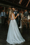 Marvelous V-neck A-line Wedding Dresses Appliques Tulle Bridal Gowns OKU42