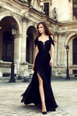 Charming Prom Dresses,Chiffon Prom Dress,Black Prom Dress,Side Slit Prom Dresses,Long Evening Dress,Black Formal Dress Elegant Prom Dress