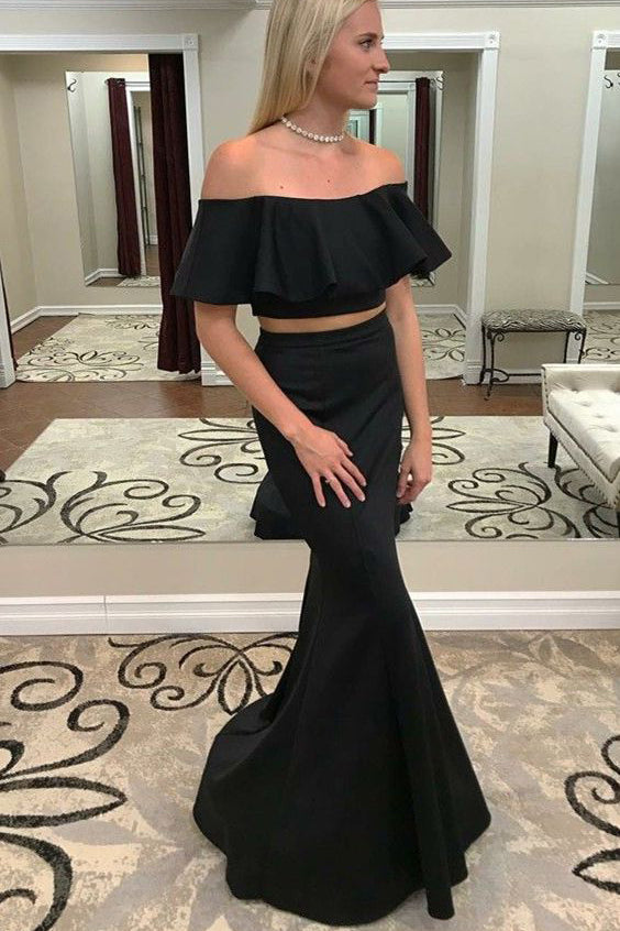 Modest Two Piece Mermaid Off-the-Shoulder Black Prom Dress with Ruffles OK757