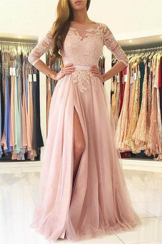 Elegant Half Sleeves Pink Tulle Long Lace Prom Dress with Slit ...