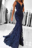 Elegant Navy Blue V Neck Long Lace Mermaid Prom Evening Dresses OK613