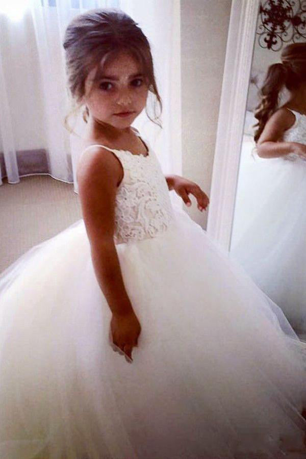 Off White A Line Floor Length Sleeveless Appliques Flower Girl Dresses With Lace OKB99