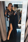A-Line V-Neck Long Sleeves Black Split Evening Prom Dress with Lace OKF71