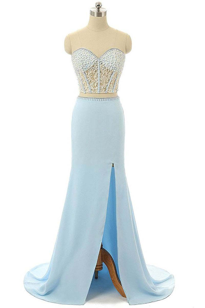 Long Prom Dress,Elegant Prom Dresses,Mermaid Prom Dress,Chiffon Prom Dresses,Sweetheart Prom Gown,Sky Blue Prom Dresses