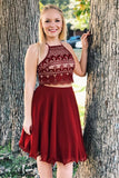 New Arrival Two Piece A Line Short Burgundy Chiffon Homecoming Dress OKB15