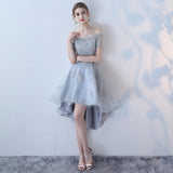 Off the Shoulder Organza A Line High Low Short Sleeves Lace Top Homecoming Dresses OKC8