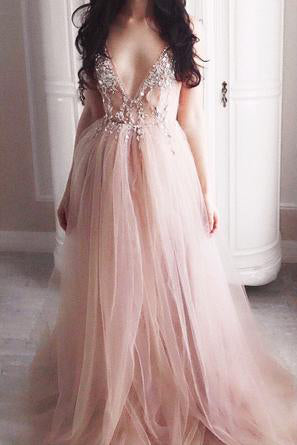 d5de75f8dd2 Luxurious Beaded V Neck Tulle Backless Sexy See Through Front Slit Pink Prom  Dresses – Okdresses