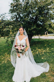 90 Inches Ivory Wedding Veil Chapel Length Cut Edge Veils WV12