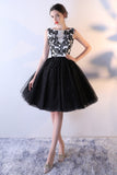 Black Tulle A Line Beading Short Bateau Homecoming Dresses With Lace Top OKC7