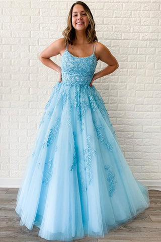 A Line Spaghetti Straps Sky Blue Tulle Prom Dress With Appliques OKU27