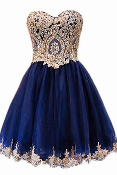 A Line Short Blue Gold Lace Appliques Prom Dresses Homecoming Dresses OKF58