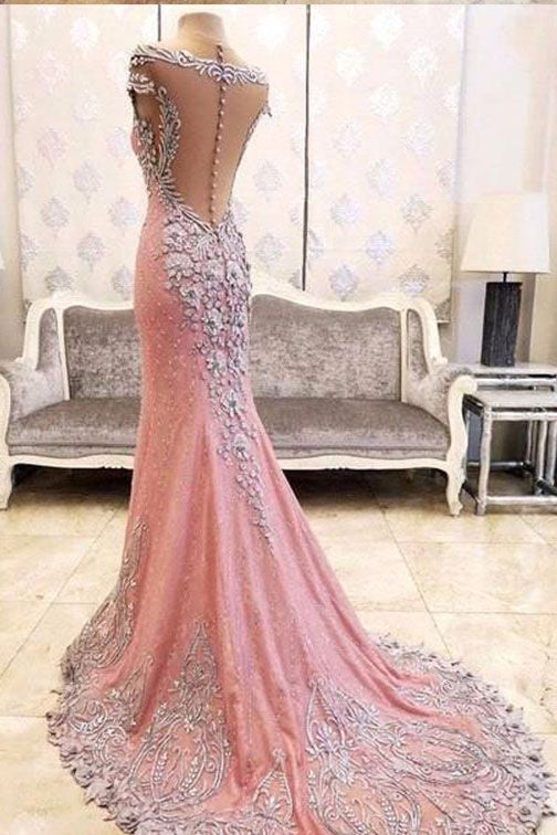 Luxury Mermaid Backless Pink Fashion Prom Dress,Sexy Party Dress,Formal Evening Dress OK617