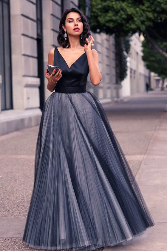 Princess Prom Dress,V-neck Prom Dresses,Tulle Evening Gown,Floor-length Prom Dresses,A Line Prom Gown,Beautiful Prom Dress