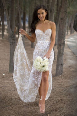 Sexy Sweetheart Asymmetry Lace Long Casual Wedding Dress with Slit OKB08
