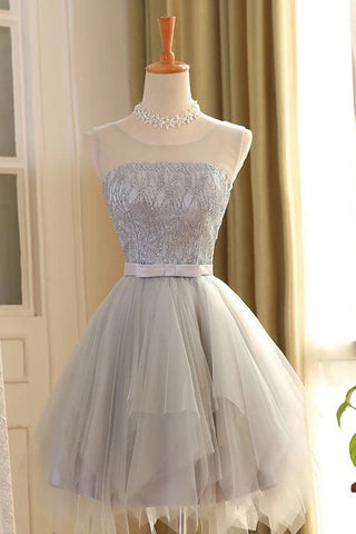 cute homecoming dresses,A-line homecoming dress,Gray Homecoming Dresses,sleeveless prom dress,Tulle homecoming dress,Short homecoming dress