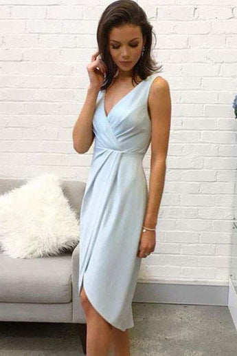 Elegant V Neck Sleeveless Light Blue Short Homecoming Dress,Cocktail Dresses OKC43