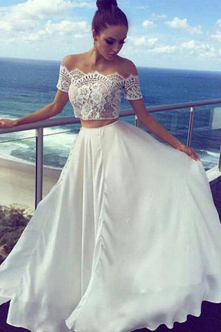 White Two Pieces Off The Shoulder Long Lace Cheap Prom Dresses,Formal Women Dress OK588