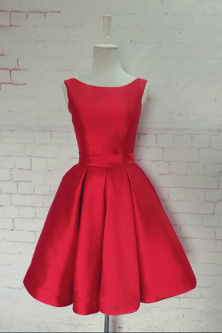 e3051bcfd64 Simple Hot selling Bateau Satin Short Red Homecoming Dress Bowknot ...
