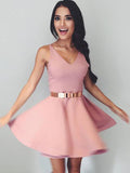 A Line V Neck Mini Cheap Backless Cute Homecoming Dresses OKB64
