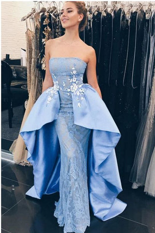 Modest Light Blue Strapless Satin Mermaid Prom Dresses With Lace appliques OKB30