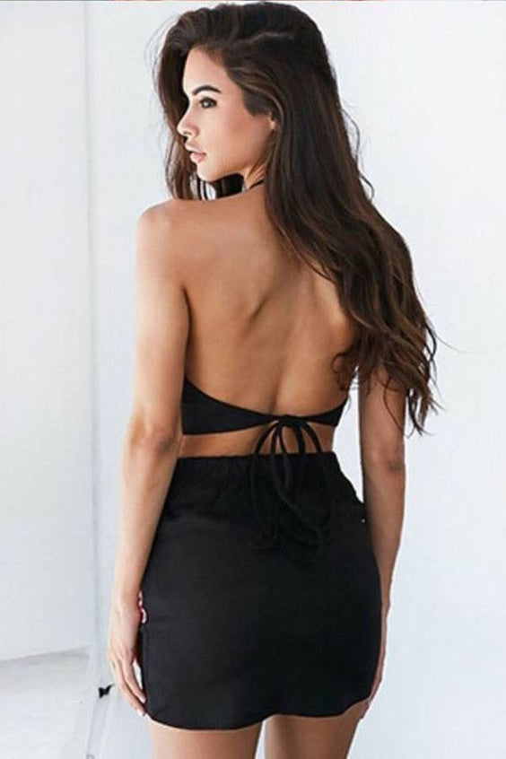 Tight Two Piece Black Satin Homecoming Dress with Flower Appliques OKB76