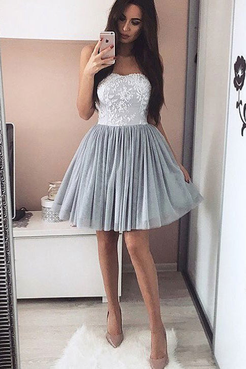 Sweetheart Grey Lace Homecoming Dresses Short Party