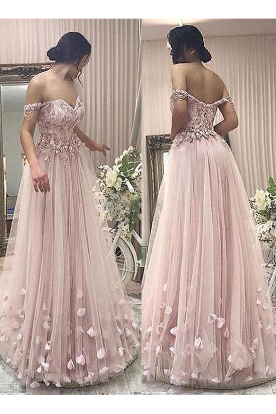 Pink Tulle A Line Off the Shoulder Flowers Long Prom Dress OK789