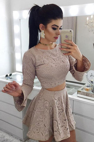 Two Piece A-Line Long Sleeves Lace Short Homecoming Dress OKM14