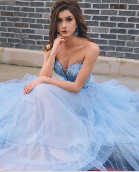 Sky Blue Tulle Long Sweetheart A line Lace Top Prom Dresses OK970