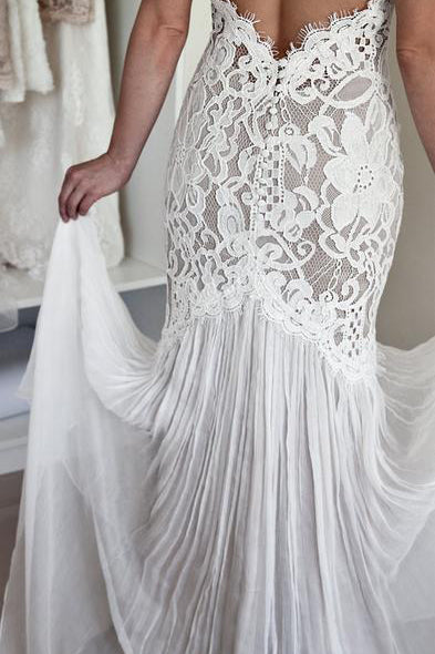 Mermaid Lace Unique Flowy Keyhole Back Long Wedding Dresses OK800