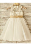 A-line Scoop Sleeveless Bowknot Floor-Length Tulle Flower Girl Dresses With Lace OK712