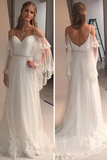 Elegant Cold Shoulders Hippie A Line Tulle Long Sweep Train Wedding Dress OKA97