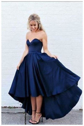 A-line Prom Dress,New Arrival Prom Dresses,Simple Evening Gown,Satin Prom Dresses,Sweetheart Prom Gown,Dark Navy Prom Dress,High-low Prom Dress