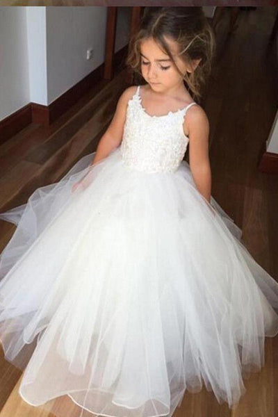Off White A Line Floor Length Sleeveless Appliques Flower Girl Dresses With Lace