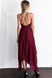 Chiffon Spaghetti Straps V Neck Cross Back Burgundy Assymetrical Hem Long Prom Evening Dress OK629