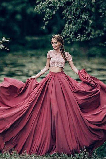 Charming Prom Dresses,Red Prom Dress,A-line Prom Gown,Short Sleeves Prom Dress,Lace Prom Dress,Scoop Prom Dress,Two Pieces Prom Dresses,Formal Evening Dress,Long Prom Dresses
